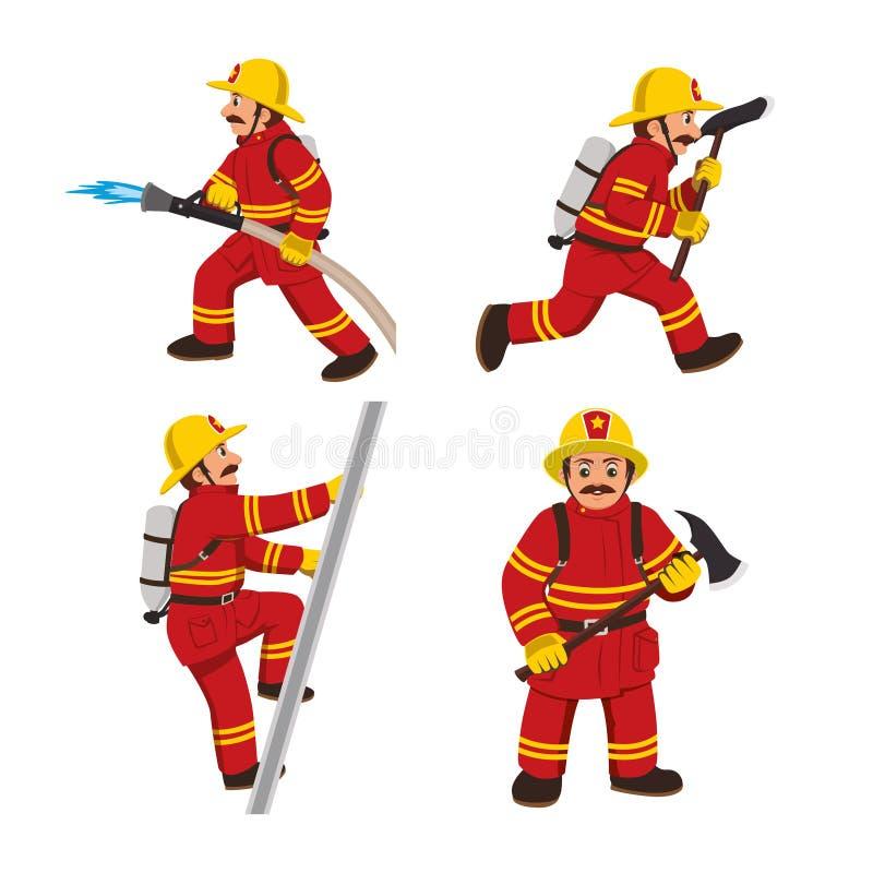 Uppsättning av firemansvektorillustrationen royaltyfri illustrationer