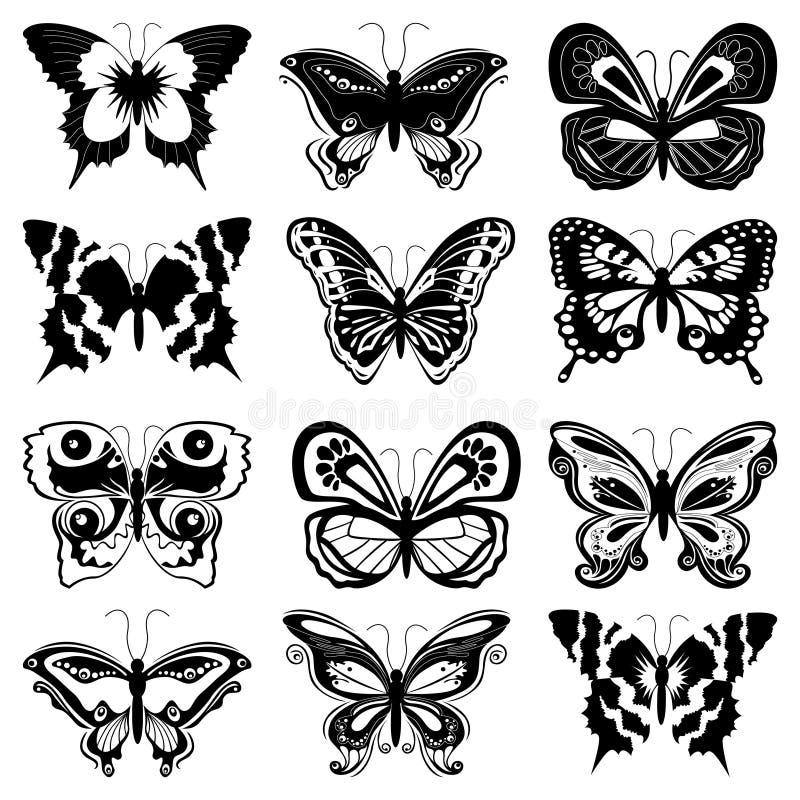 Uppsättning av fjärilskonturer stock illustrationer
