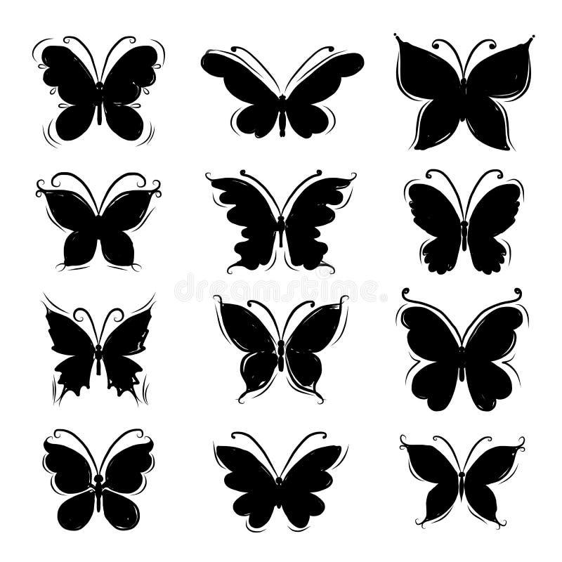 Uppsättning av fjärilskonturer för din design stock illustrationer