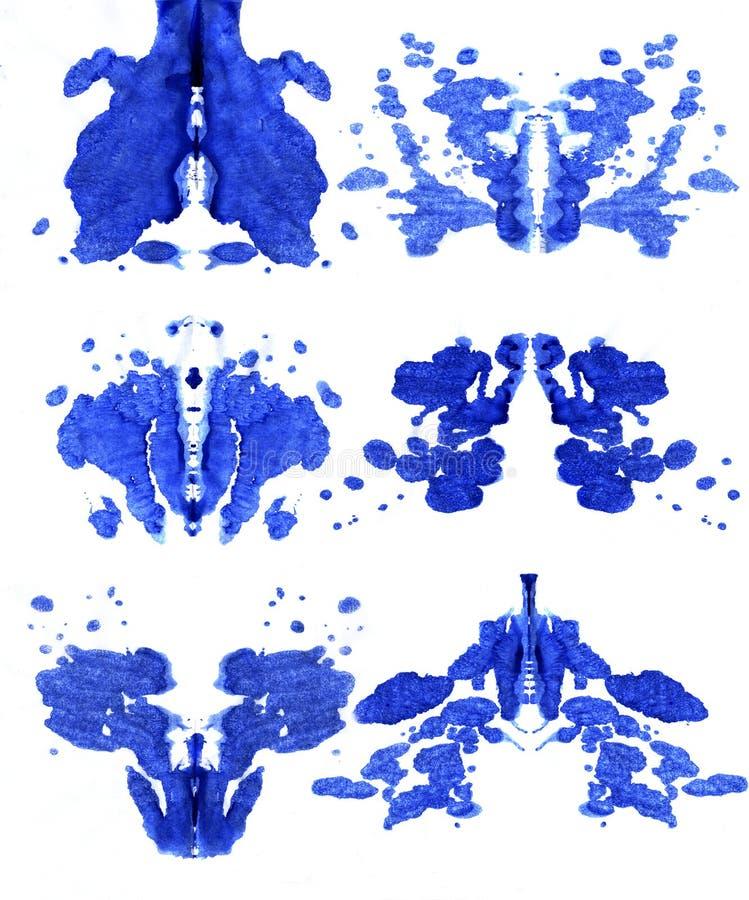 Uppsättning av fläckar av Rorschach vektor illustrationer