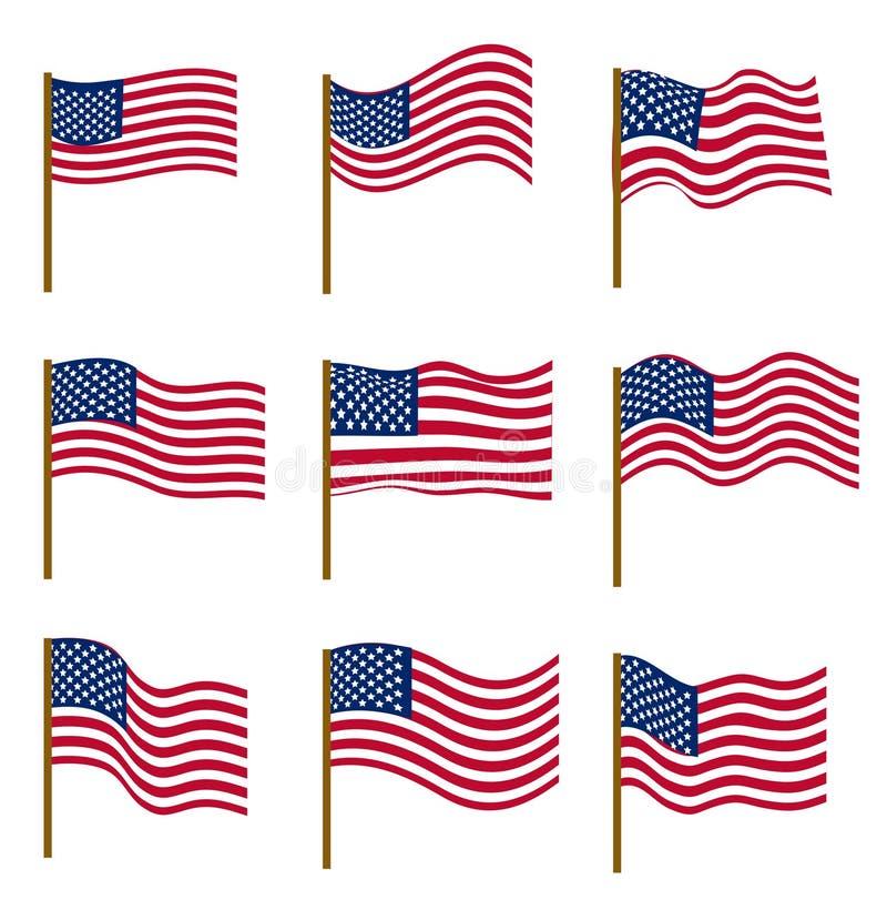 Uppsättning av flaggor av Amerikas förenta stater som isoleras på vit bakgrund Självständighetsdagen Juli 4, begrepp vektor royaltyfri illustrationer