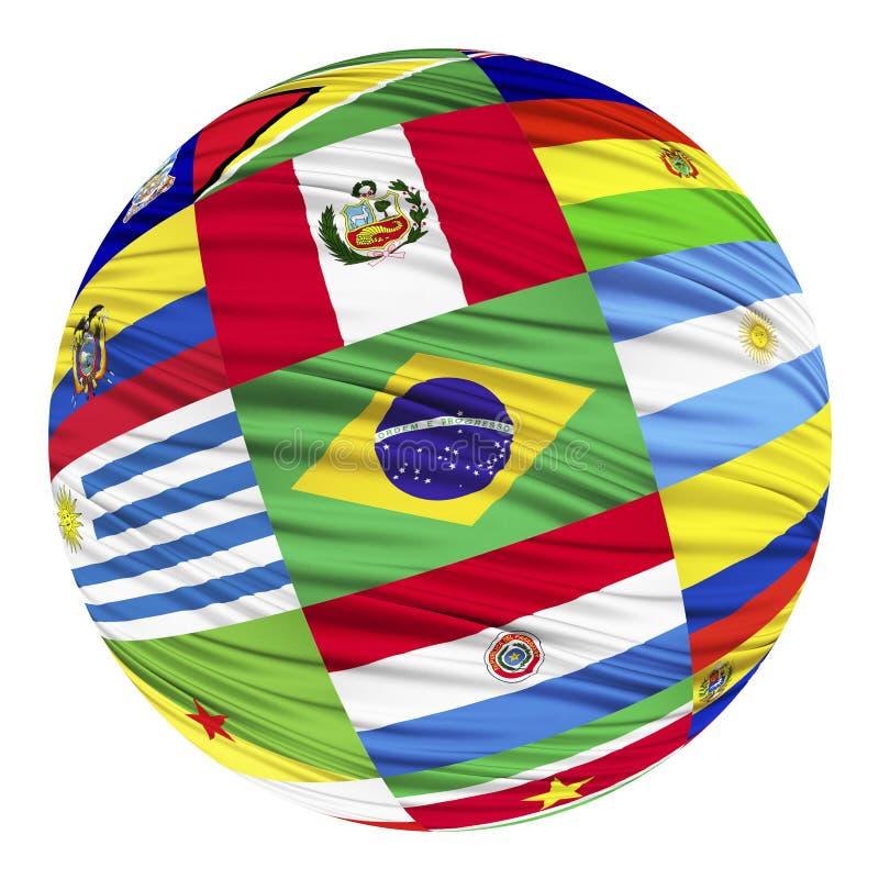 Uppsättning av flaggor av söder - amerikanska länder i alfabetisk ordning stock illustrationer