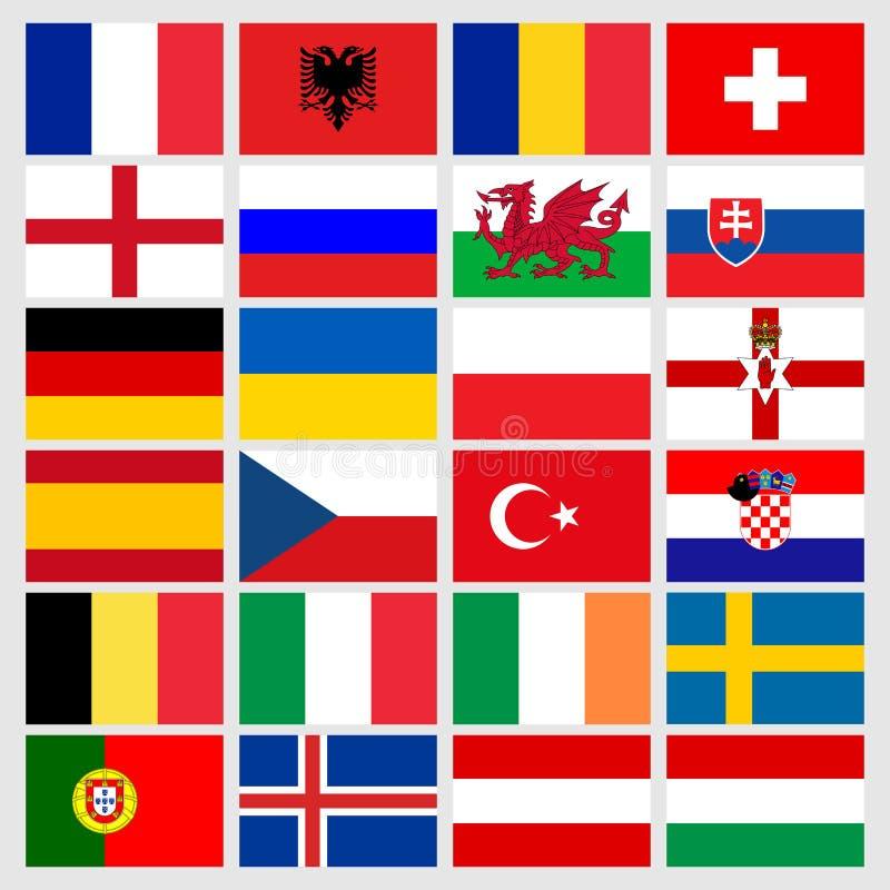 Uppsättning av 24 flaggor för symboler för fotbollbollar av deltagareländerna Fotbolleurokopp 2016 royaltyfri illustrationer