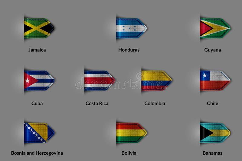 Uppsättning av flaggor i form av en glansig texturerad etikett eller bokmärke Jamaica Honduras Kanada Kuba Costa Rica Colombia Ch stock illustrationer
