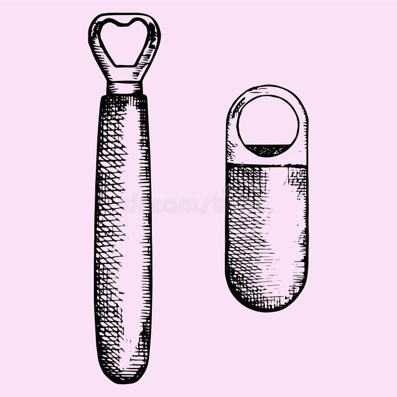 Uppsättning av flasköppnaren vektor illustrationer