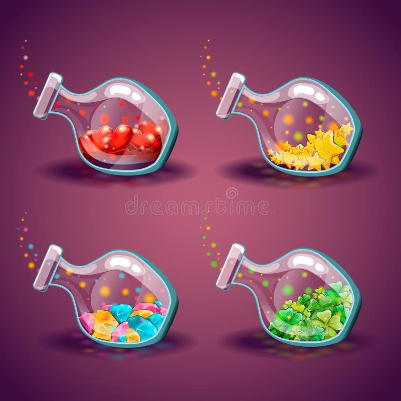 Uppsättning av flaskor med olika objekt vektor illustrationer