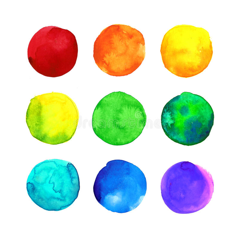 Uppsättning av flerfärgad färgrik drog vattenfärgfläckar för regnbåge hand, cirklar som isoleras på vit vektor illustrationer