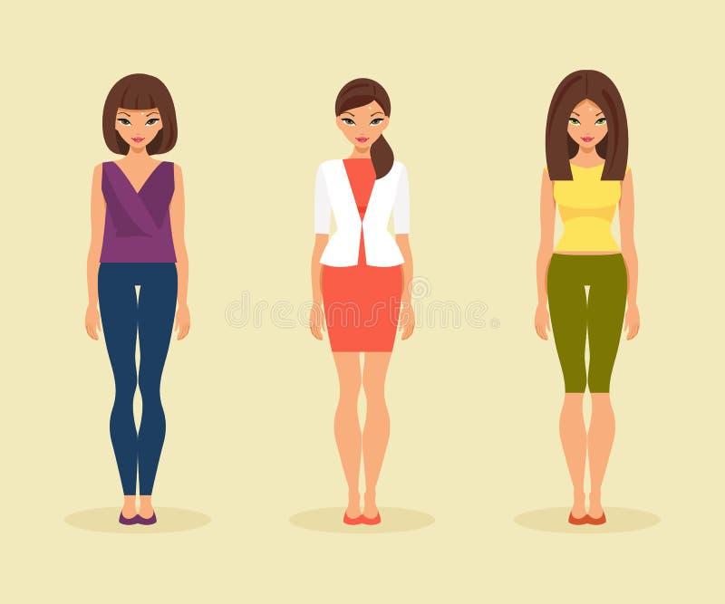 Uppsättning av flickor i deras dagliga kläder också vektor för coreldrawillustration royaltyfri illustrationer