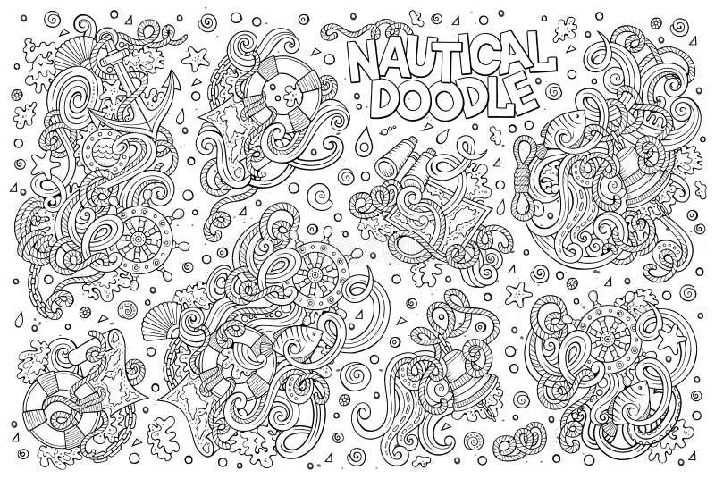 Uppsättning av flotta, nautiska objekt och symboler royaltyfri illustrationer