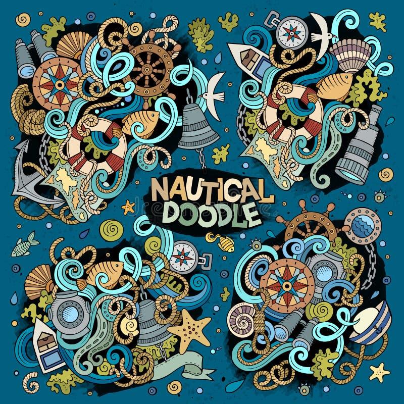 Uppsättning av flottan, nautisk klotterdesign vektor illustrationer