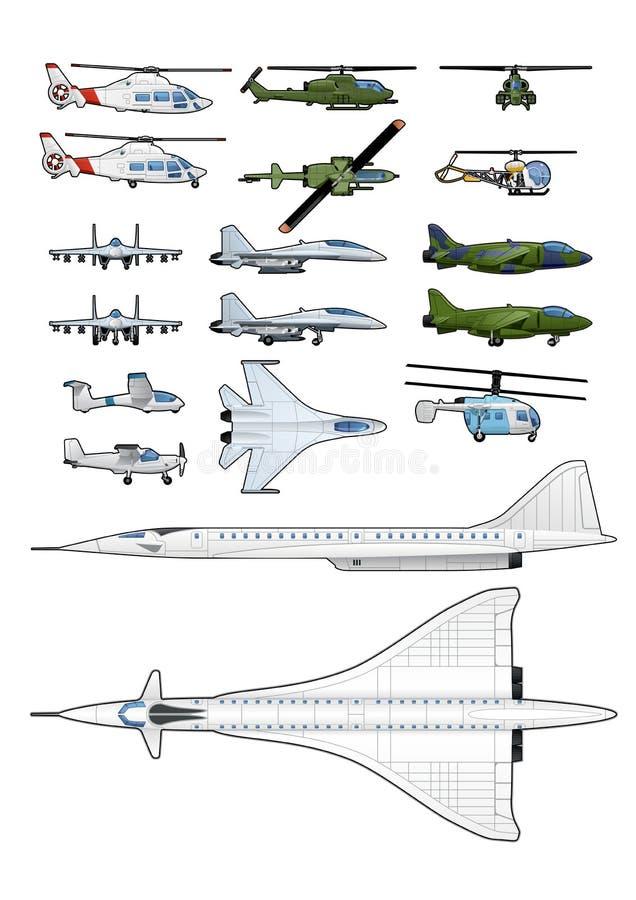 Uppsättning av flygplan och helikoptrar stock illustrationer