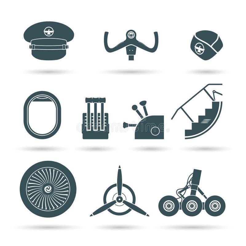 Uppsättning av flygplanbeståndsdelar stock illustrationer