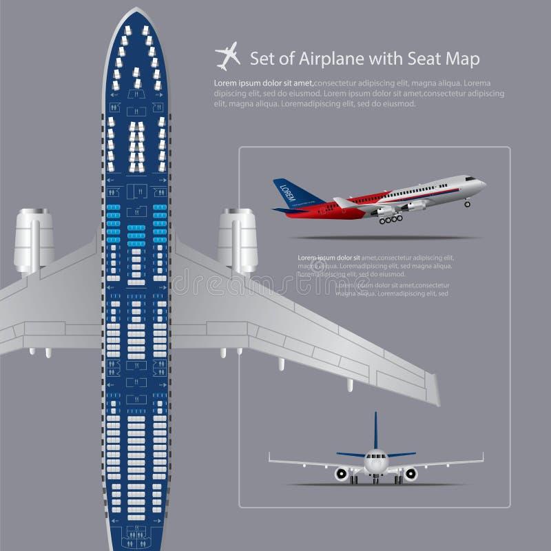 Uppsättning av flygplanet med den isolerade Seat översikten stock illustrationer