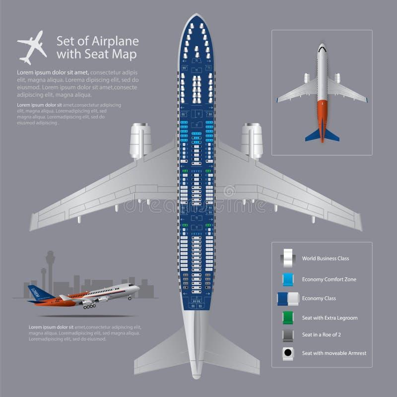 Uppsättning av flygplanet med den Seat översikten vektor illustrationer