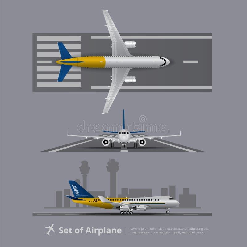 Uppsättning av flygplanet på landningsbana stock illustrationer