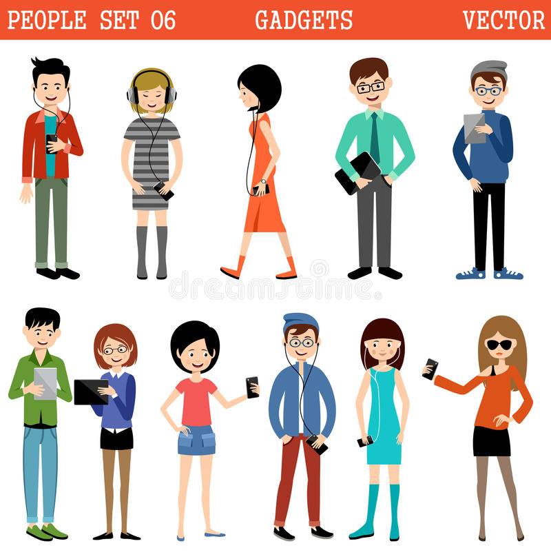 Uppsättning av folk med grejer royaltyfri illustrationer