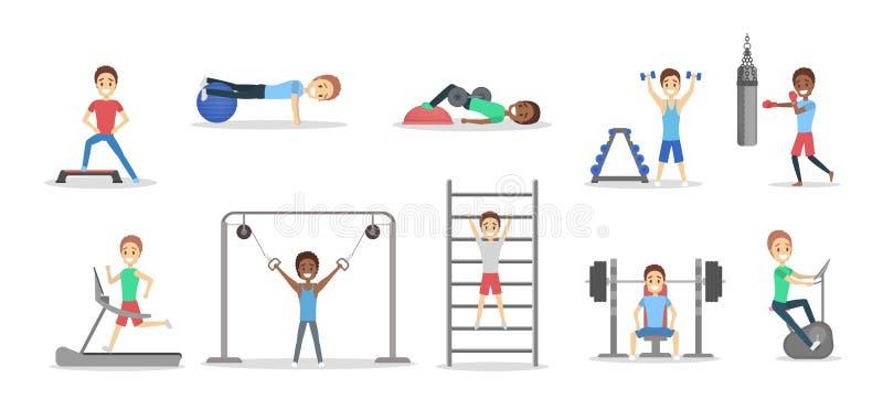 Uppsättning av folk som gör övningar i idrottshallen vektor illustrationer