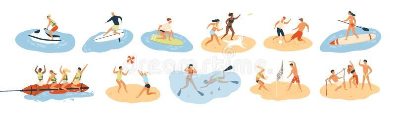 Uppsättning av folk som utför sommarsportar och utomhus- aktiviteter för fritid på stranden, i havet eller havet - spela lekar so stock illustrationer