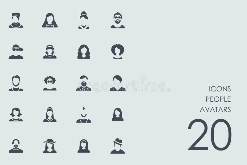 Uppsättning av folkavatarssymboler stock illustrationer