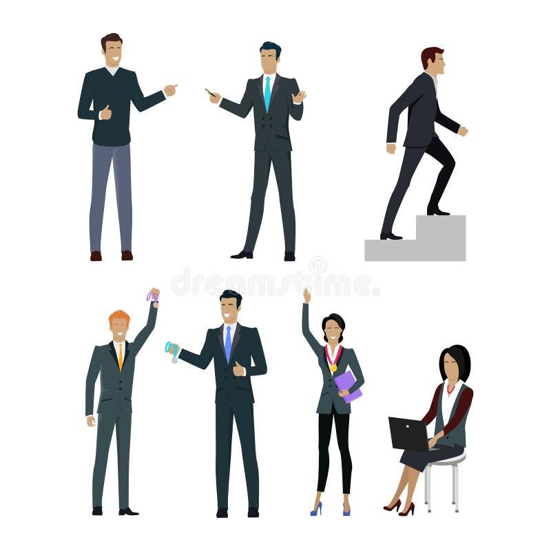 Uppsättning av folkchefer som önskar att visa bra resultat vektor illustrationer