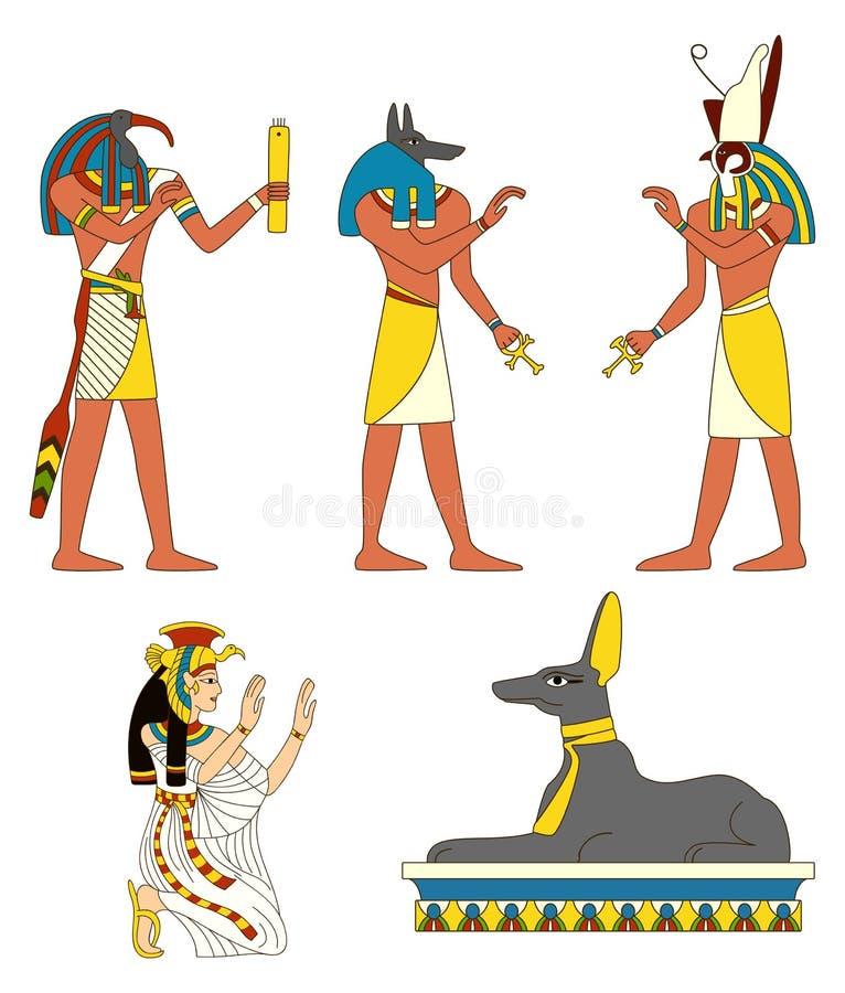 Uppsättning av forntida egyptiska gudbilder royaltyfri illustrationer