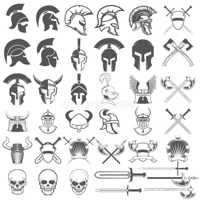 Uppsättning av forntida vapen, hjälmar, svärd och designbeståndsdelar royaltyfri illustrationer