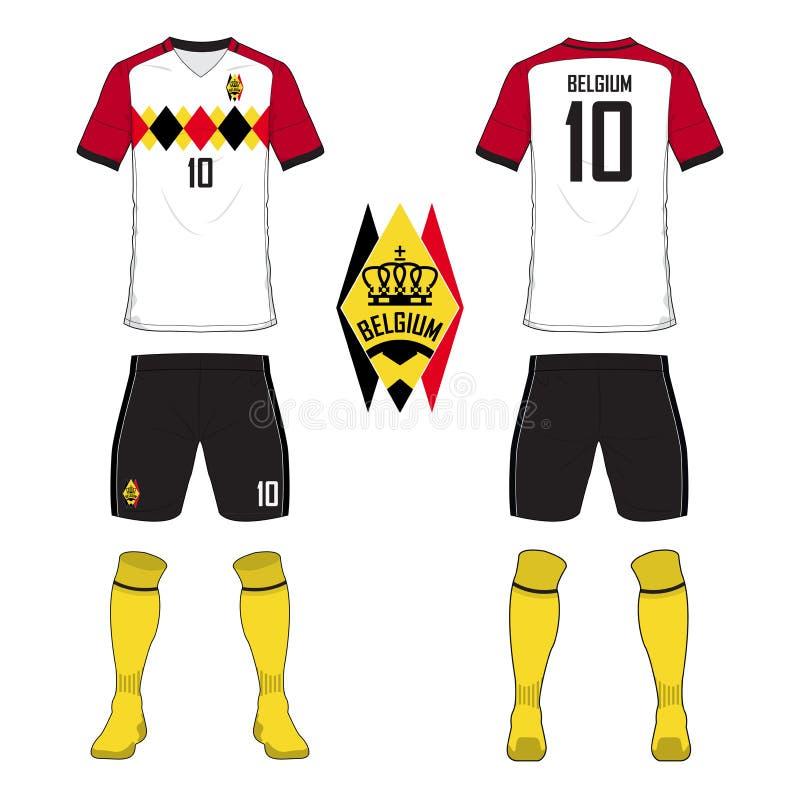 Uppsättning av fotbollärmlös tröja eller fotbollsatsmall för Belgien medborgarefotbollslag Likformig för framdel- och baksidasikt royaltyfri illustrationer
