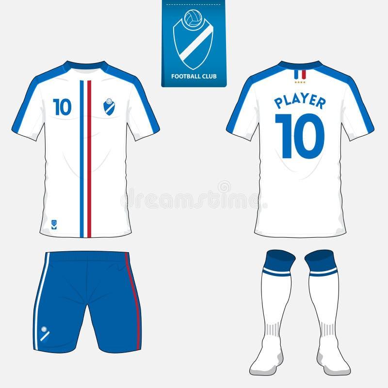 Uppsättning av fotbollärmlös tröja, fotbollsats Fotbolldräktåtlöje upp vektor vektor illustrationer