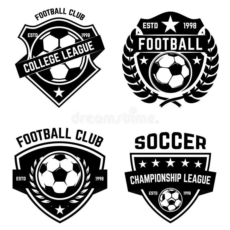 Uppsättning av fotboll, fotbollemblem Planlägg beståndsdelen för logoen, etiketten, emblemet, tecken vektor illustrationer
