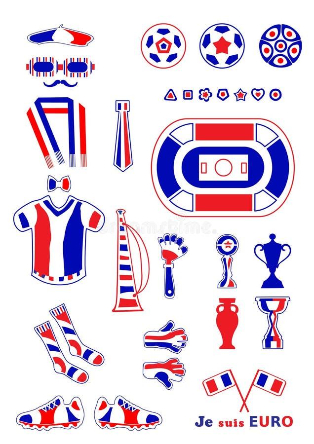 Uppsättning av fotbollbeståndsdelar royaltyfri foto