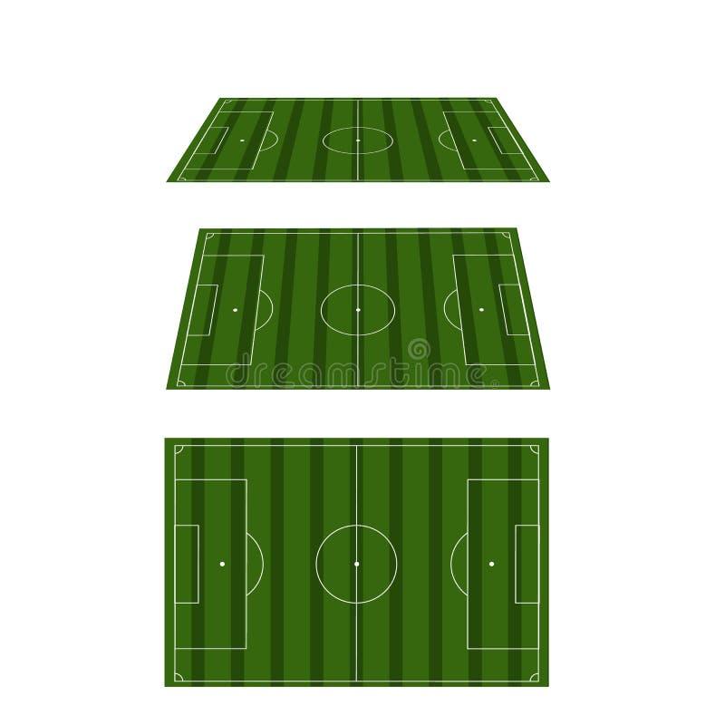 Uppsättning av fotbollfält med för klassisk fotboll royaltyfri illustrationer