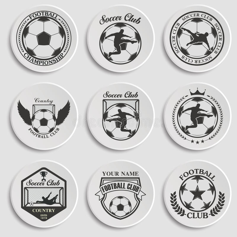 Uppsättning av fotbollfotboll stock illustrationer