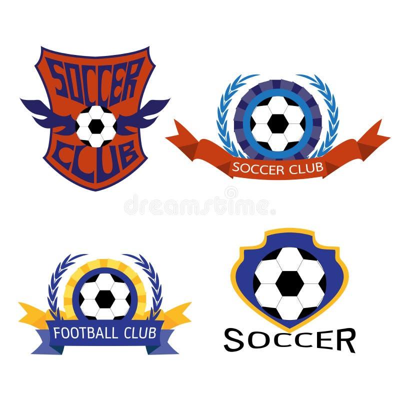 Uppsättning av fotbollfotbollemblemet Logo Design Templates stock illustrationer