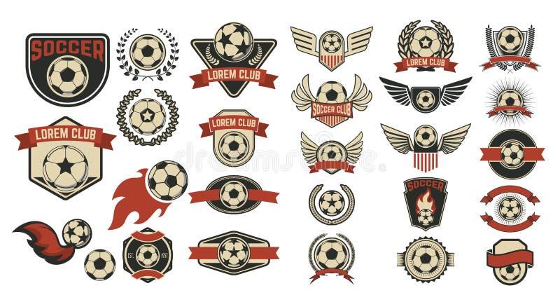 Uppsättning av fotbollklubbaetiketter royaltyfri illustrationer