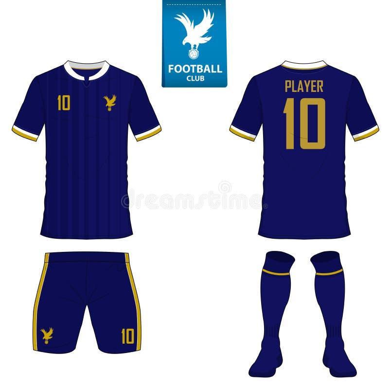 Uppsättning av fotbollsatsen eller fotbollärmlös tröjamall för fotbollklubba Plan fotbolllogo på blåttetikett Unif för framdel- o royaltyfri illustrationer