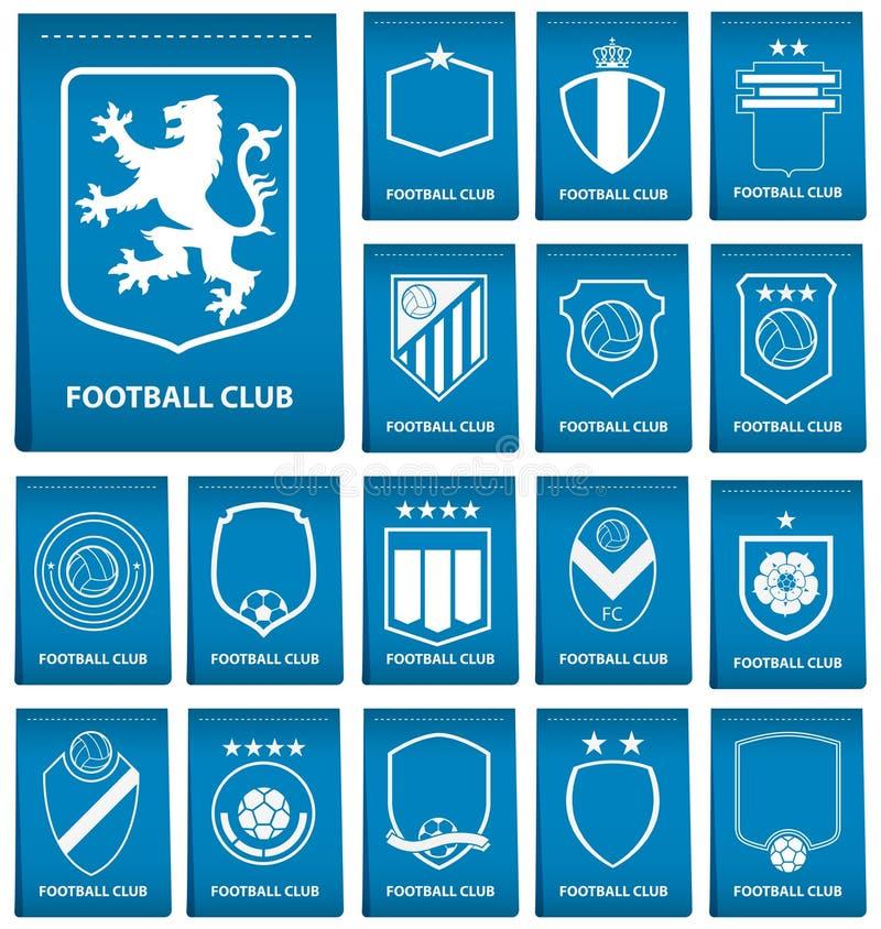 Uppsättning av fotbollvapnet på blåttetikett i plan design Fotbolllogoemblem Fotbollemblem vektor royaltyfri illustrationer