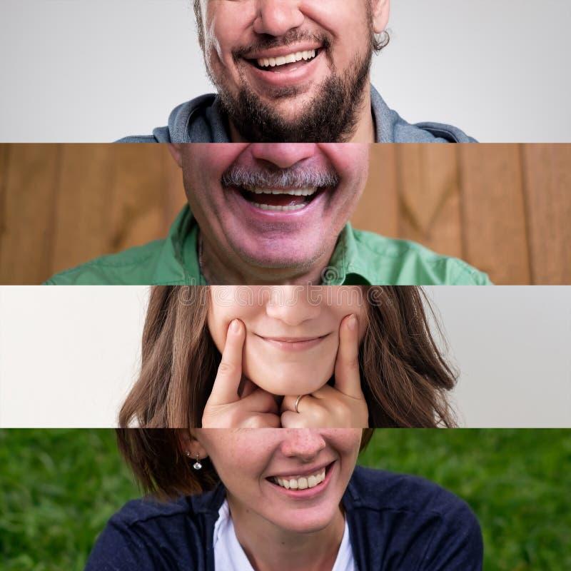 Uppsättning av foto av att le folk Man- och kvinnamunslut upp royaltyfri bild