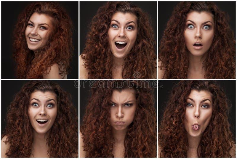 Uppsättning av foto med kvinnan med sunt brunt lockigt hår royaltyfria foton