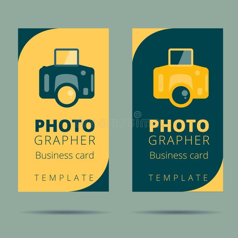 Uppsättning av fotografen, mall för design för kort för fotostudioaffär, stock illustrationer