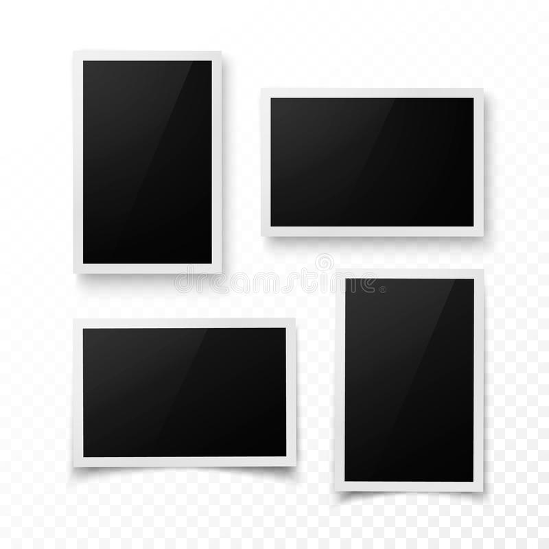 Uppsättning av fotoramen med skugga Realistiskt foto, bild eller picteregränsmall Fotografimellanrum Isolerad vektorillustration vektor illustrationer