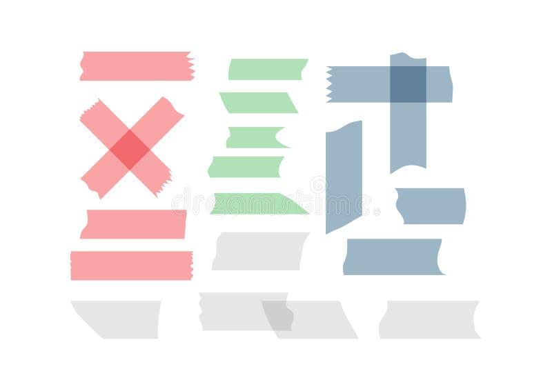 Uppsättning av fragment av den färgade tejpen Sönderrivna stycken av maskeringstejpen vektor illustrationer