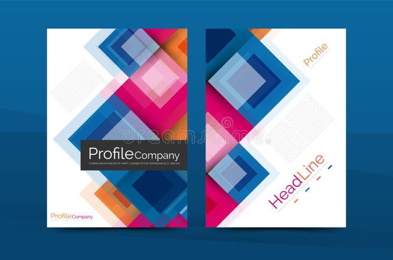 Uppsättning av framdelen och tillbaka sidor för format a4, mallar för affärsårsrapportdesign stock illustrationer