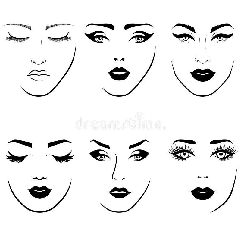 Uppsättning av framsidor för kvinna` s royaltyfri illustrationer