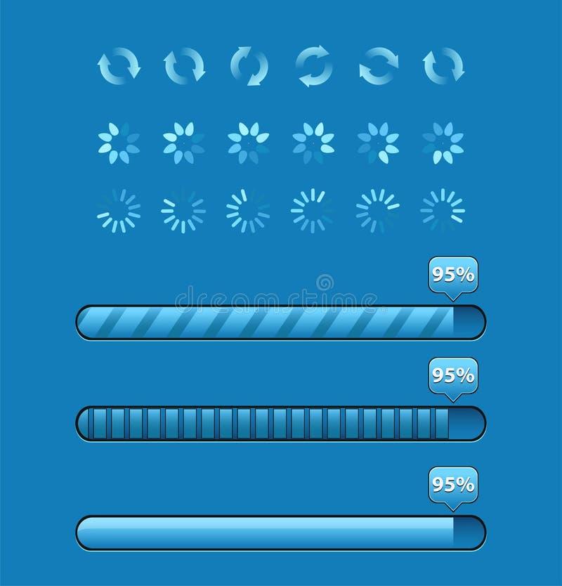Uppsättning av framstegstänger med procentsatser royaltyfri illustrationer