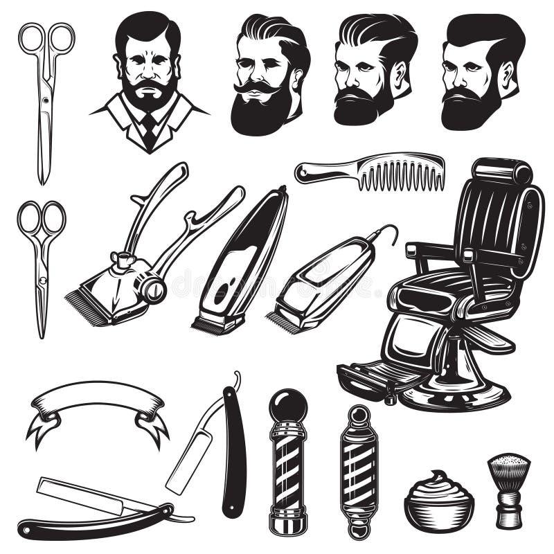 Uppsättning av frisersalongdesignbeståndsdelar sax som rakar blad, barberare vektor illustrationer