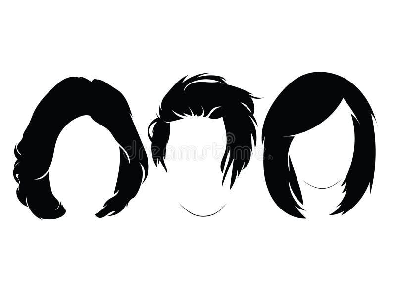 Uppsättning av frisyrer för kvinnor Samling av svarta konturer av frisyrer för flickor royaltyfri illustrationer