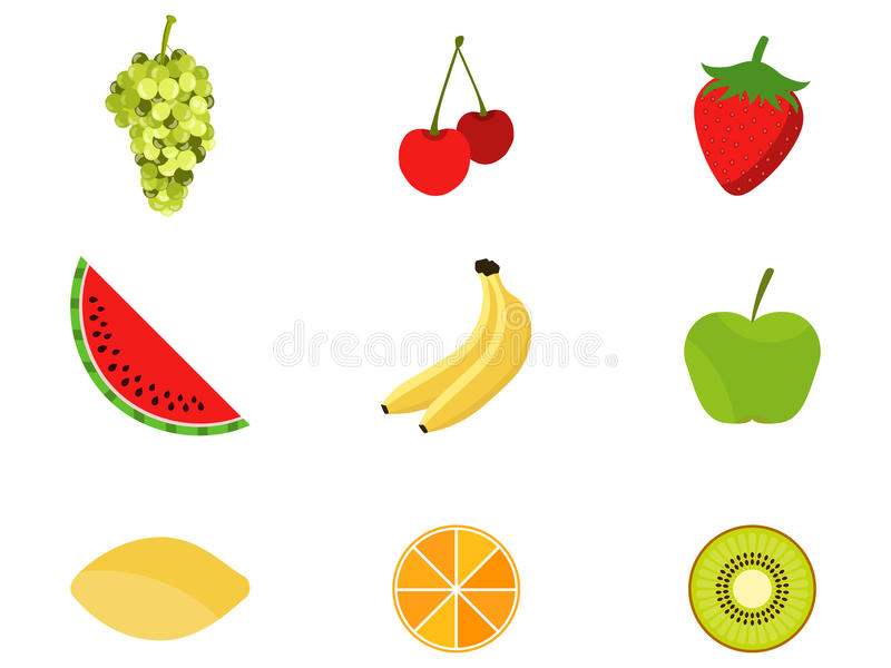 Uppsättning av frukter i en plan stil Frukter och bär, citrus Symboler på vit bakgrund vektor vektor illustrationer