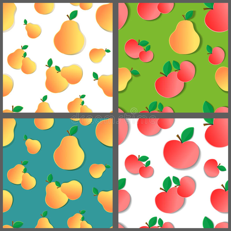 Uppsättning av fruktmodeller stock illustrationer