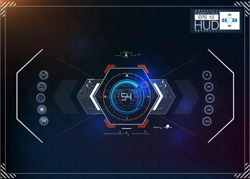 Uppsättning av futuristisk blå infographics som huvud-uppskärm Visa navigeringbeståndsdelar för rengöringsduken och appen Futuris vektor illustrationer