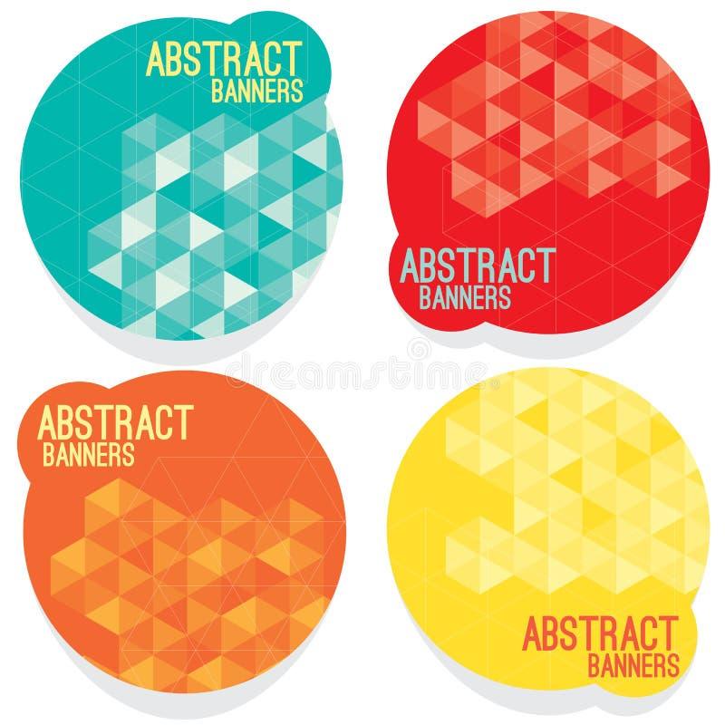 Uppsättning av fyra abstrakta baner royaltyfri illustrationer